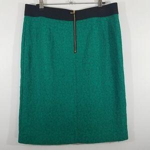 Alfani Skirt Turquoise Lace Gold Zipper Size 12